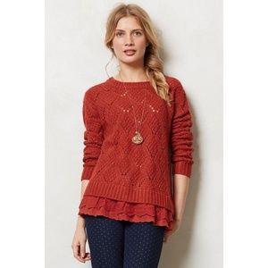 [Anthropologie] Diamond Stitch Lace Hem Sweater